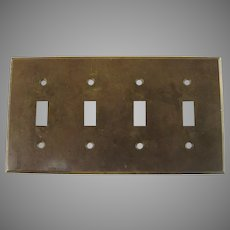 Vintage Quality Solid Brass Four (4) Throw Switch Plate 1940's
