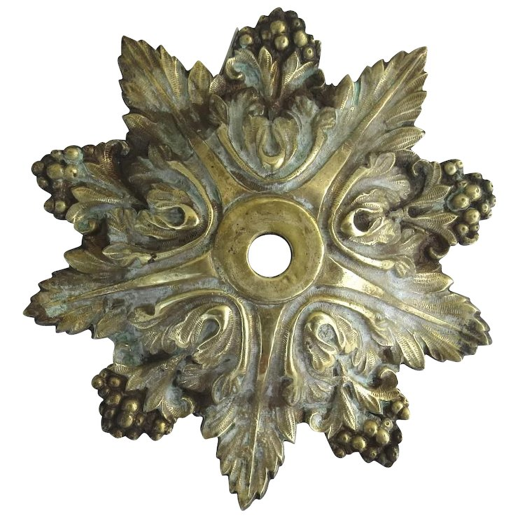 Vintage brass chandelier ceiling canopy with acanthus leaf and berry vintage brass chandelier ceiling canopy with acanthus leaf and berry motif aloadofball Image collections