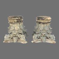 Pair of 19th Century Corinthian Column Capitals American Architectural Cast Zinc