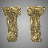 Pair of Carved Wood Brackets Corbels Old Paint Finish Acanthus Leaf