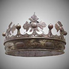 """Italian 19th Century Monumental Bed Crown Canopy """"Corona"""" Traces of Silver and Gold Gilt"""