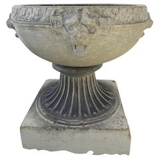 1900's Large Glazed Terracotta Footed Urn with Lion Heads Garden Ornament