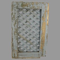 Vintage French Blue Painted Lattice Shutter Door Country Primitive Rustic