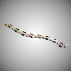 Vintage Sterling 925 Malachite Lapis Purple Sugilite Link Bracelet Mexico Mexican S.2363