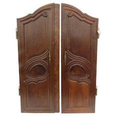 19th Century Pair of French Armoire Doors Brass Hardware Parquetry