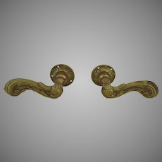 Pair of Vintage Cast Brass French Lever Door Handles