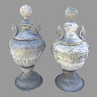 Pair of Monumental Large Zinc American Architectural Urn Finials