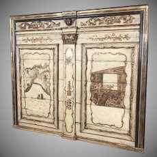 19th Century Chinoiserie Boiserie Panel Perfect for Headboard or Hanging White Painted Gilt