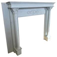 Painted 1900's Fireplace Mantel Surround Columns French Blue