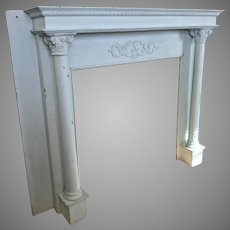 Painted 1900's Fireplace Mantel Columns French Blue