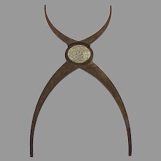 Iron Cross Bracket with Carved Center Asian Motif Fragment Piece X Shape