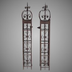 Large Wrought Iron Gate Posts 19th Century