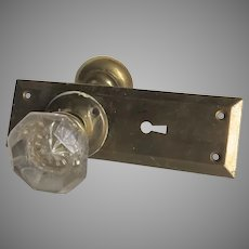 Vintage Glass Brass Door Knobs Backplate
