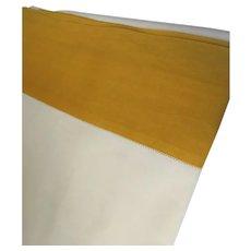 Vintage Linen Sheet Saffron Mustard Border  King Queen
