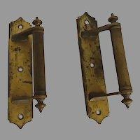 Pair of Vintage Brass Gilt Pull Handle Hardware