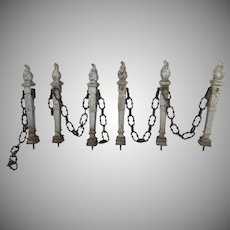 French Cast Iron Chain Gate Fence Architecture Flame Finial