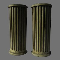 19th Century Pair Tall Narrow Tables Made from Classical Fluted Architectural Painted Columns