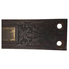 Arts and Crafts Metal Lock Throw, Plate, Engraved