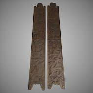 Vintage Hand Carved Narrow Doors Panels from Costa Rica Monkeys Fish Birds Pantry Wine Cellar Doors