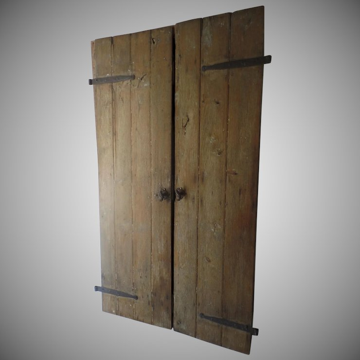 Pair of Country Architectural Plank Doors with Hand Forged Iron Strap Hinges & Pair of Country Architectural Plank Doors with Hand Forged Iron ...