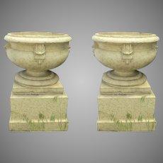 Pair of Large Glazed Terra Cotta Urns Planters on Plinths Bases Denver Pottery Works c 1900