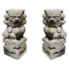 Pair of Fabulous Carved Stone Foo Dogs Lions
