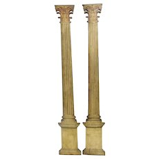 English Regency Pair of Decorative Faux Corinthian  Columns Panels