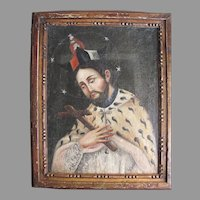 Early Oil on Canvas Mounted on Board of Saint Ermine Robe Crucifix