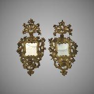 Pair of Impressive 18th century Italian Carved Wood Gilt  Rococo Mirrors