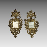 Pair of Impressive 18th century Italian Carved Wood Gilt  Rococo Mirrors