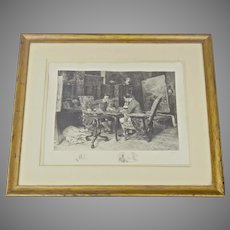 Original Etching by American Artist James Fagan  after Ernest Meissonier 1901