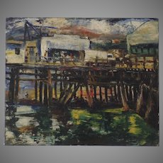 Signed Dated Oil on Canvas Abstract 1947 Pemberton Wharf Dock