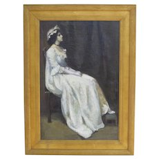 Oil on Canvas of a Portrait Young Woman Gilt Frame