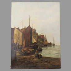 Late 19th Century Oil on Canvas by Louis Klad Signed Boats Harbor