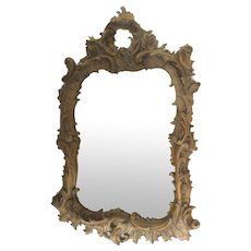 Mirror Heavily Carved Walnut Rococo Style Bevel Mirror