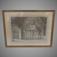 18th Century Brown Ink Drawings Architectural Italian