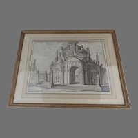18th Century Brown Ink Drawing Architectural Italian
