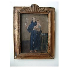 Spanish Colonial Painting on Board in Original Frame Baby Jesus St. Anthony of Pauda