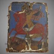 Signed Gesso on Wood Icon Man Horseback Framed