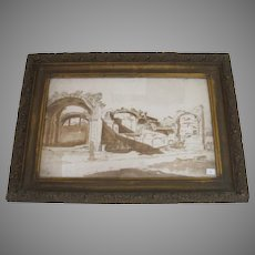 Italian Ruins Ink and Colored Wash 17th Century