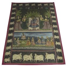 Indian Textile in Box Lucite Frame