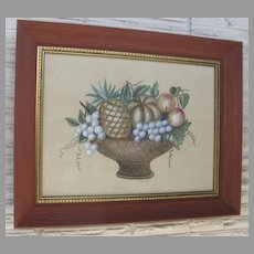 Watercolor Gouache Painting by Charles Adams Americana County Fruit Basket