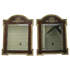 Pair of Gesso Gilt and Wood Napoleonic Mirrors 19th Century