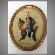 A Trompe l'oeil with Birds by Michelangelo Meucci 1877 Oval Gilt Frame