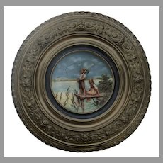Johann Maresch Huge Plaque with Repousse Brass Frame Children Fishing