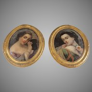 Pair of Reverse Painted Portraits of Young Girls c 1860
