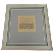 Drawing Colored Pencil on Paper Mountain and Country House Scene Signed
