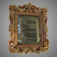 French Painted and Gilt Mirror Robust