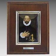 Enamel Painting in Sterling Silver and Wood Frame El Grecco