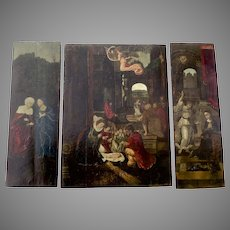 17th Century Triptych Oil Painting Italian School Nativity, Annunciation and St. Anne and Mary